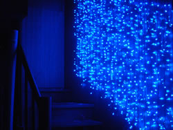 LED Blue Cutain at the stairs